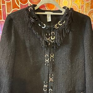 Chico's Sz Large nubby abstract metal raw fiber